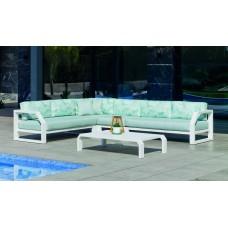 Salon De Jardin Sofa Zafiro-28-Dl Finition Blanc Tissus Dalia Verde Dralonlux De 4 À 7 Places