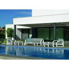 Salon De Jardin Sofa Zafiro-9-Dl Finition Blanc Tissus Enma Gris Fonce Dralonlux De 4 À 6 Places