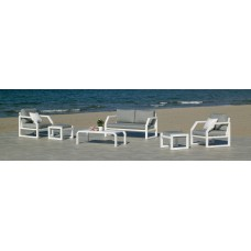 Salon De Jardin Sofa Bellagio-9 Finition Blanc Tissus Gris Clair Marilan Dralon De 4 À 6 Places
