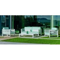 Salon De Jardin Sofa Cosmos-7-Dl Finition Blanc Tissus Vert Anis Clair Orlena Dralonlux De 4 À 5 Places