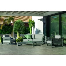 Salon De Jardin Sofa Cosmos-7-Dl Finition Anthracite Tissus Mirta Gris Clair Dralonlux De 4 À 5 Places