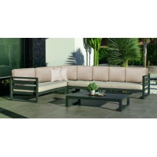 Salon De Jardin Sofa Cosmos-28-Dl Finition Anthracite Tissus Mirta Beige Dralonlux De 4 À 7 Places