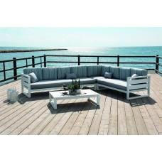 Salon De Jardin Sofa Cosmos-28-Sd Finition Blanc Tissus Assise Lara / Dossier Raye Alina Superdralon De 4 À 7 Places