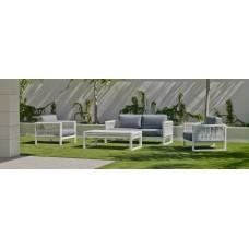 Salon De Jardin Sofa Monterrey-7 Finition Blanc/Cordage Blanc Tissus Gris Clair Marilan Dralon De 4 À 5 Places
