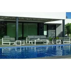 Salon De Jardin Sofa Monterrey-10 Finition Blanc/Cordage Gris Tissus Gris Sara Fonce Dralon De 4 À 7 Places