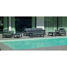 Salon De Jardin Sofa Monterrey-10 Finition Anthracite/Cordage Gris Tissus Gris Sara Fonce Dralon De 4 À 7 Places