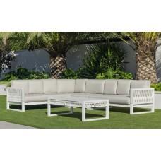 Salon De Jardin Sofa Monterrey-28-Dl Finition Blanc/Cordage Blanc Tissus Indara Beige Dralonlux De 4 À 9 Places