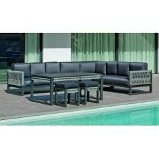 Salon De Jardin Sofa Monterrey-30-Dl Finition Anthracite/Cordage Gris Tissus Enma Gris Fonce Dralonlux De 4 À 10 Places