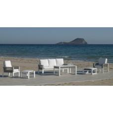 Salon De Jardin Sofa Estambul-10 Finition Blanc/Cordage Gris Tissus Anais Blanc Dralon De 4 À 7 Places