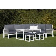 Salon De Jardin Sofa Estambul-30-Dl Finition Blanc/Cordage Gris Tissus Enma Gris Fonce Dralonlux De 4 À 8 Places