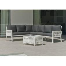 Salon De Jardin Sofa Havana-28-Dl Finition Blanc/Cordage Blanc Tissus Joana Gris Fonce Dralonlux De 4 À 6 Places