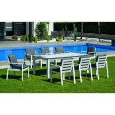 Set Salon De Jardin À Manger Camelia-Hpl-220/8+8C-Dralonlux Finition Blanc/Hpl Design Blanc Tissus Enma Gris Fonce Dralonlux De 8 Places