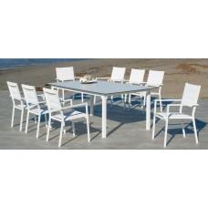 Set Salon De Jardin À Manger Palma-Hpl-220 Avec 8Xmilos-3 Finition Blanc/Hpl Design Blanc Tissus Blanc Textilene De 8 Places