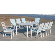 Set Salon De Jardin À Manger Palma-Hpl-220 Avec 8Xcaravel-3 + Coussin(S) Complet(S)  Dralonlux Finition Blanc/Hpl Design Blanc Tissus Praga Rayas Azul Bleu Blanc Dralonlux De 8 Places