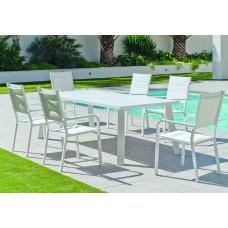 Set Salon De Jardin À Manger Dalas-220 Avec 6Xpriscila-3 Finition Blanc Tissus Blanc Textilene De 6 Places