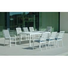 Set Salon De Jardin À Manger Palma-220 Avec 8Xcaravel-3 + Coussin(S) Complet(S)  Finition Blanc Tissus Gris Clair Marilan Dralon De 8 Places