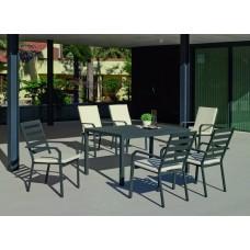 Set Salon De Jardin À Manger Palma-220 Avec 6Xcaravel-3 + Coussin(S) Complet(S)  Finition Anthracite Tissus Alba Ecru Dralon De 6 Places