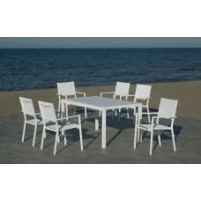 Set Salon De Jardin À Manger Palma-220 Avec 6Xroma-3 Finition Blanc Tissus Blanc Textilene De 6 Places