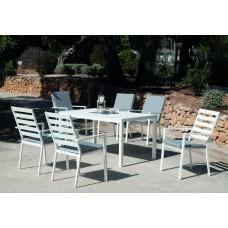 Set Salon De Jardin À Manger Palma-220 Avec 6Xpalma-3 + Coussin(S) Complet(S)  Finition Blanc Tissus Gris Clair Marilan Dralon De 6 Places
