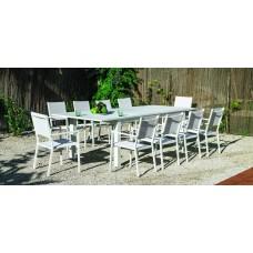 Set Salon De Jardin À Manger Camelia-220/300 Avec 10Xroma-3 Finition Blanc Tissus Blanc Textilene De 10 Places
