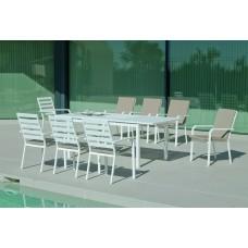 Set Salon De Jardin À Manger Palma-170/220 Avec 8Xcaravel-3 + Coussin(S) Complet(S)  Finition Blanc Tissus Beige Elsa Dralon De 8 Places