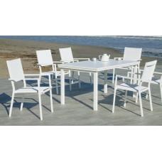 Fauteuil À Manger 2X Roma-3 Finition Blanc Tissus Blanc Textilene