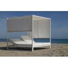 Lit De Jardin Balinaise Creta-D-Textilen Finition Blanc Tissus Blanc Dralon De 2 Places