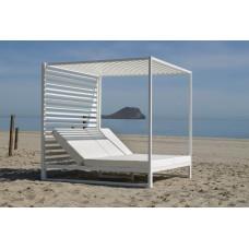 Lit De Jardin Balinaise Santorini-D Finition Blanc Tissus Blanc Dralon De 2 Places