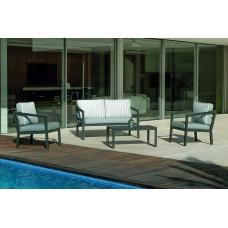 Salon De Jardin Sofa Acapulco-7-Dralonlux Finition Anthracite Tissus Praga Gris/Rayas Praga Gris Dralonlux De 4 À 5 Places