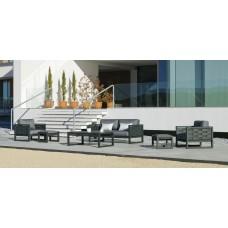 Salon De Jardin Sofa Augusta-9-Dl Finition Anthracite Tissus Enma Gris Fonce Dralonlux De 4 À 6 Places