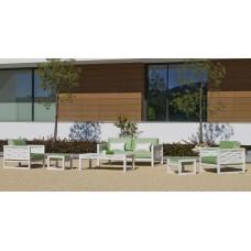 Salon De Jardin Sofa Augusta-7-Dl Finition Blanc Tissus Herisan Vert Anis Dralonlux De 4 À 5 Places