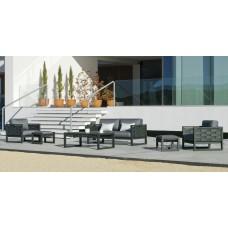 Salon De Jardin Sofa Augusta-7-Dl Finition Anthracite Tissus Enma Gris Fonce Dralonlux De 4 À 5 Places