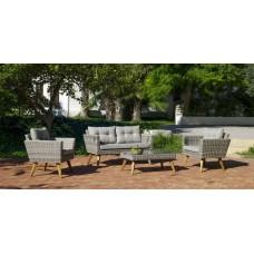 Salon De Jardin Sofa Meridien-7 Finition Resine Tressee Grise Tissus Gris Clair Mariland Dralon De 4 Places
