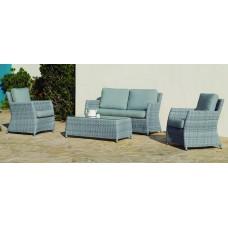 Salon De Jardin Sofa Alabama-7 Finition Resine Tressee Grise Tissus Gris Clair Mariland Dralon De 4 À 5 Places