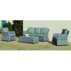 Salon De Jardin Sofa Alabama-8 Finition Resine Tressee Grise Tissus Gris Clair Mariland Dralon De 4 À 6 Places