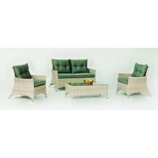Salon De Jardin Sofa Belmond-7 Finition Resine Tressee Beige Tabac Clair Panache De 4 À 5 Places