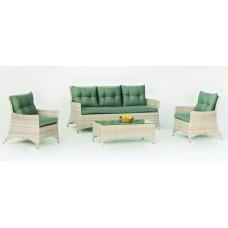 Salon De Jardin Sofa Belmond-8 Finition Resine Tressee Beige Tabac Clair Panache De 4 À 6 Places
