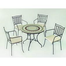 Salon De Jardin À Manger Mosaique Camarines-Shifa-90/4+4C Finition Plateau Mosaique Struct. Acier Couleur Bronze Tissus Ecru Alba Dralon De 4 Places