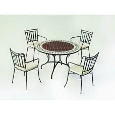 Salon De Jardin À Manger Mosaique Alondra-Shifa/120/4+4C Finition Plateau Mosaique Struct. Acier Couleur Bronze Tissus Ecru Alba Dralon De 4 Places