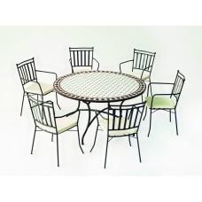 Salon De Jardin À Manger Mosaique Zaira-Schifa/140/6+6C Finition Plateau Mosaique Struct. Acier Couleur Bronze Tissus Ecru Alba Dralon De 6 Places