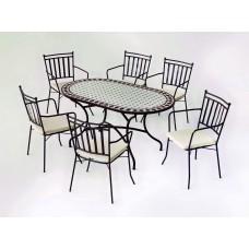 Salon De Jardin À Manger Mosaique Sambala-150/Shifa/6+6C Finition Plateau Mosaique Struct. Acier Couleur Bronze Tissus Ecru Alba Dralon De 6 Places