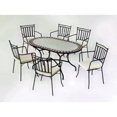 Salon De Jardin À Manger Mosaique Sambala-200/Shifa/6+6C Finition Plateau Mosaique Struct. Acier Couleur Bronze Tissus Ecru Alba Dralon De 6 Places