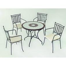 Table À Manger Mosaique Estela-90 Finition Plateau Mosaique Struct. Acier Couleur Bronze