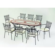 Table À Manger Mosaique Neypal-200 Finition Plateau Mosaique Struct. Acier Couleur Bronze