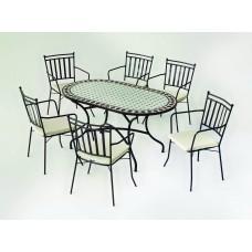 Table À Manger Mosaique Sambala-200 Finition Plateau Mosaique Struct. Acier Couleur Bronze