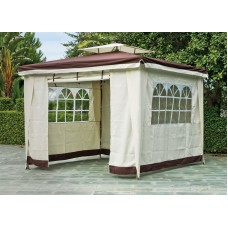 Tonnelle De Jardin Lux Sidne  En Aluminium Et Acier Struct Aluminium Et Acier Toile Beige Et Marron