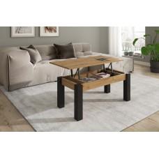 TABLE BASSE ELEVABLE M304 fait(e) de 1 module(s) pour une largeur de 100cm de la collection NEO-3 finition(s) ARTISAN pieds AZABACHE